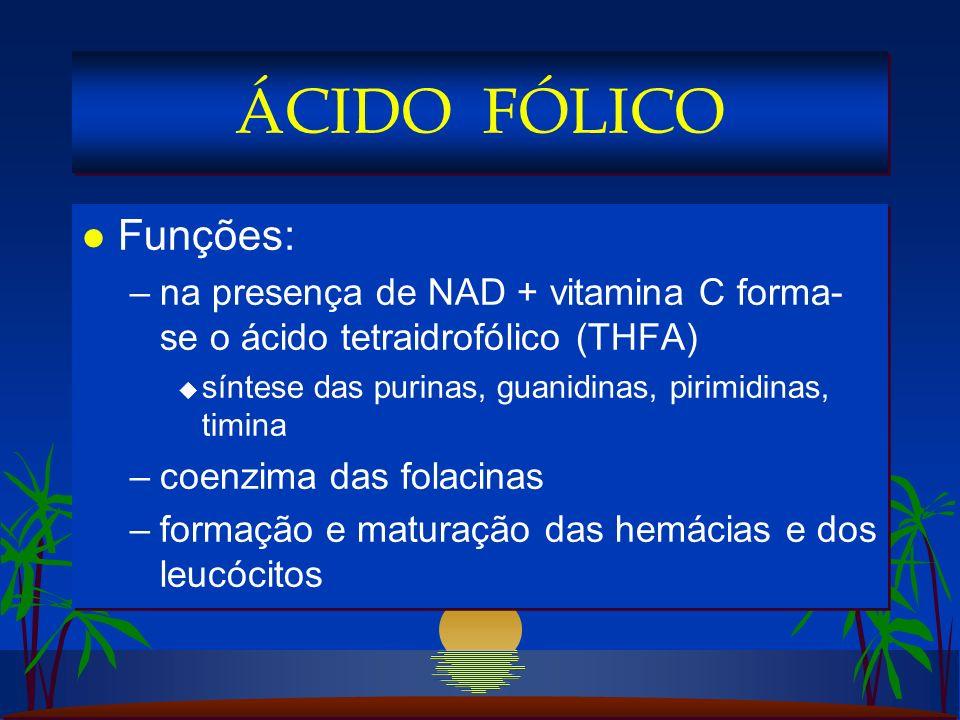 ÁCIDO FÓLICO Funções: na presença de NAD + vitamina C forma-se o ácido tetraidrofólico (THFA) síntese das purinas, guanidinas, pirimidinas, timina.