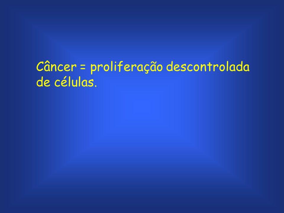 Câncer = proliferação descontrolada de células.