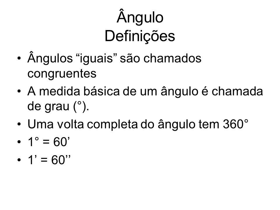 Ângulo Definições Ângulos iguais são chamados congruentes