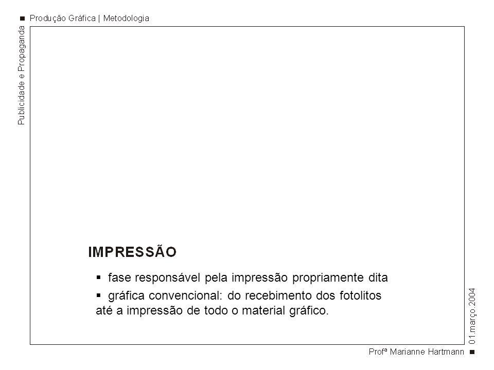 fase responsável pela impressão propriamente dita