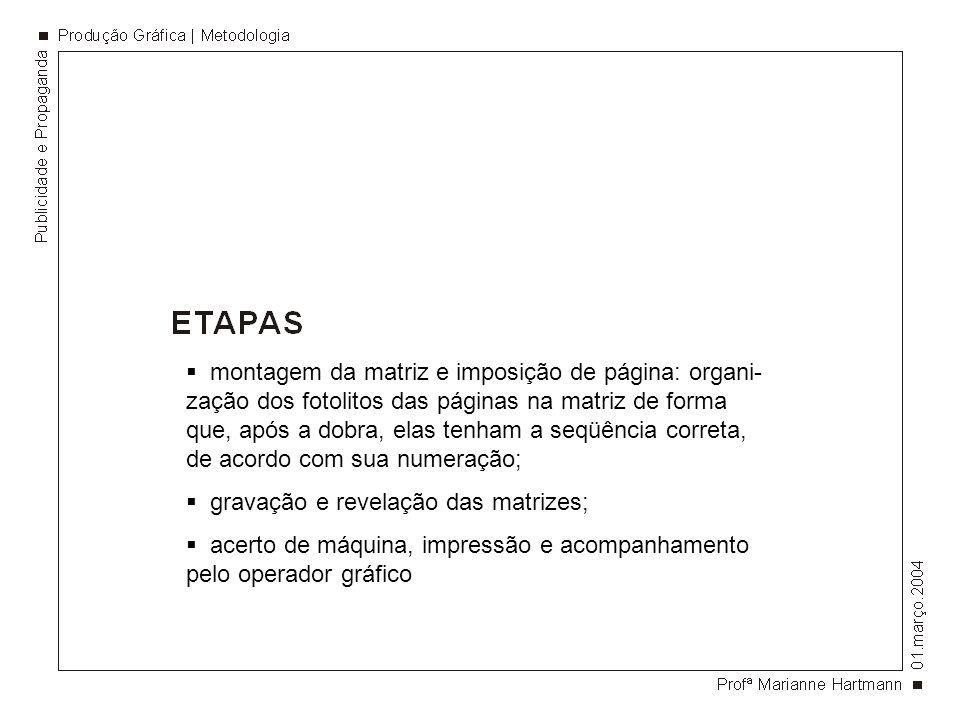 montagem da matriz e imposição de página: organi-zação dos fotolitos das páginas na matriz de forma que, após a dobra, elas tenham a seqüência correta, de acordo com sua numeração;