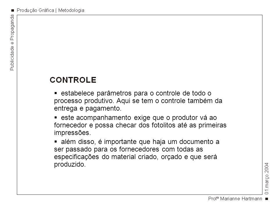 estabelece parâmetros para o controle de todo o processo produtivo