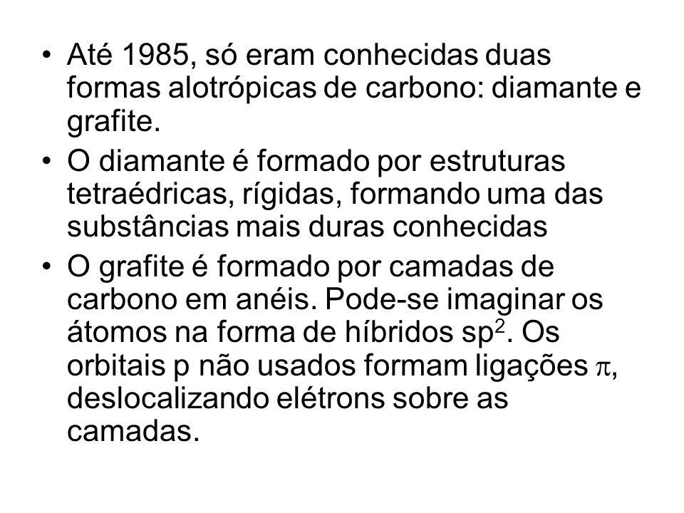 Até 1985, só eram conhecidas duas formas alotrópicas de carbono: diamante e grafite.