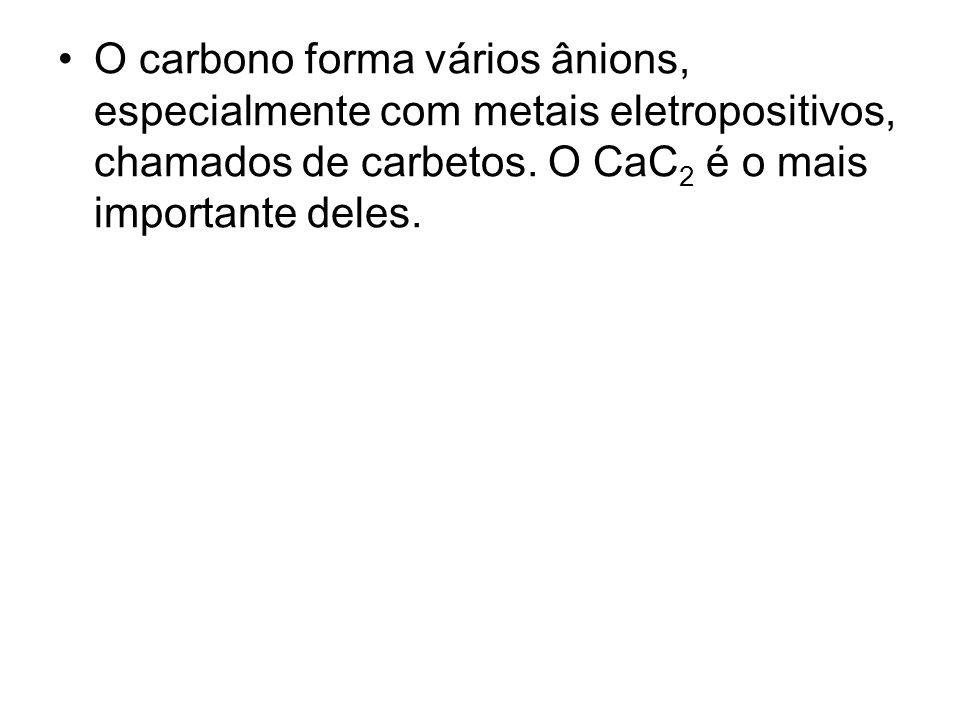 O carbono forma vários ânions, especialmente com metais eletropositivos, chamados de carbetos.