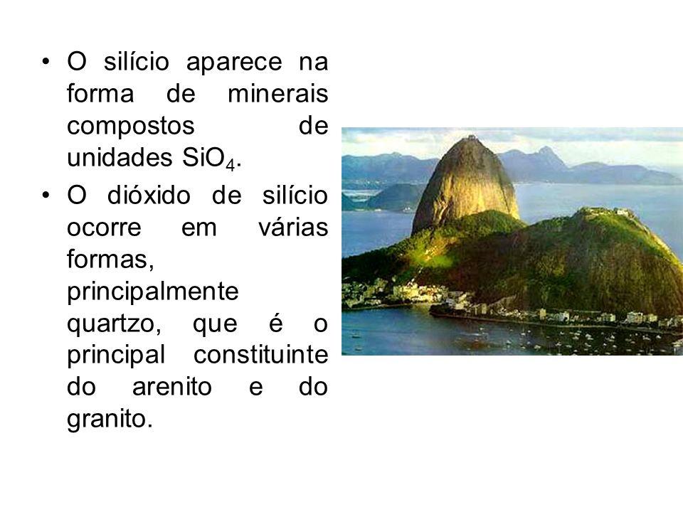 O silício aparece na forma de minerais compostos de unidades SiO4.