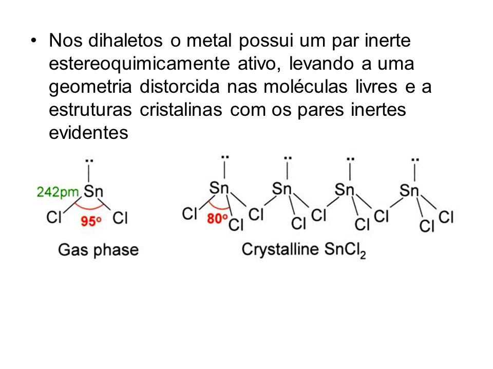 Nos dihaletos o metal possui um par inerte estereoquimicamente ativo, levando a uma geometria distorcida nas moléculas livres e a estruturas cristalinas com os pares inertes evidentes