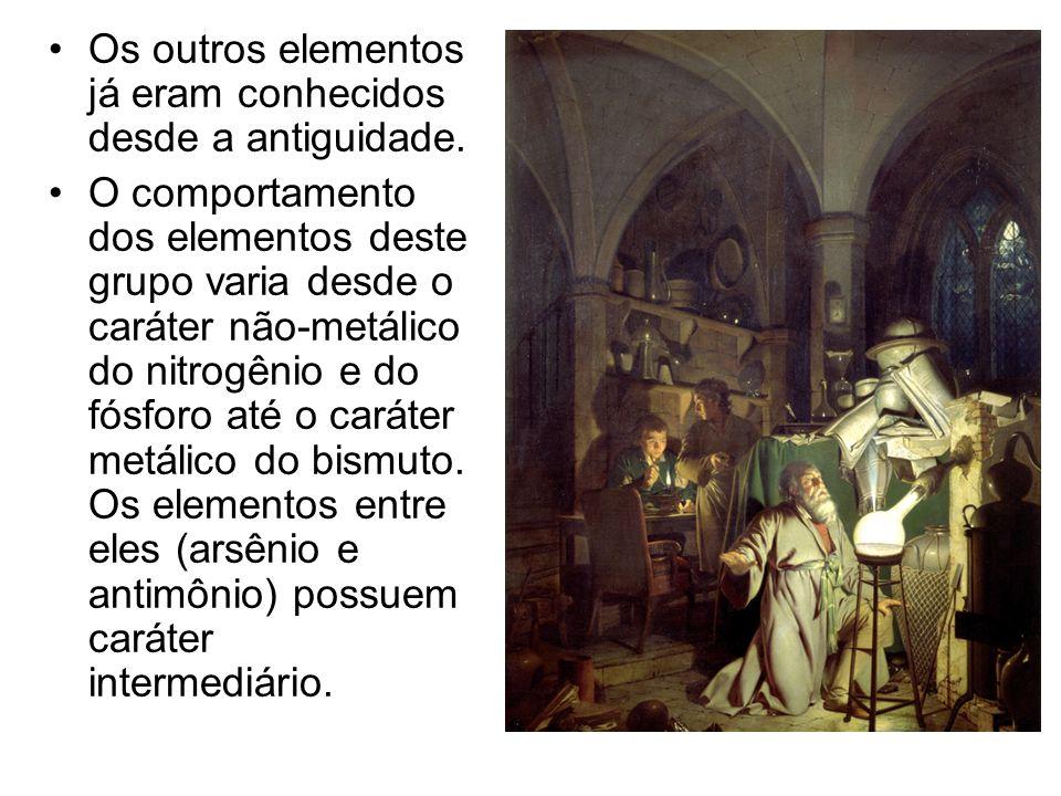 Os outros elementos já eram conhecidos desde a antiguidade.
