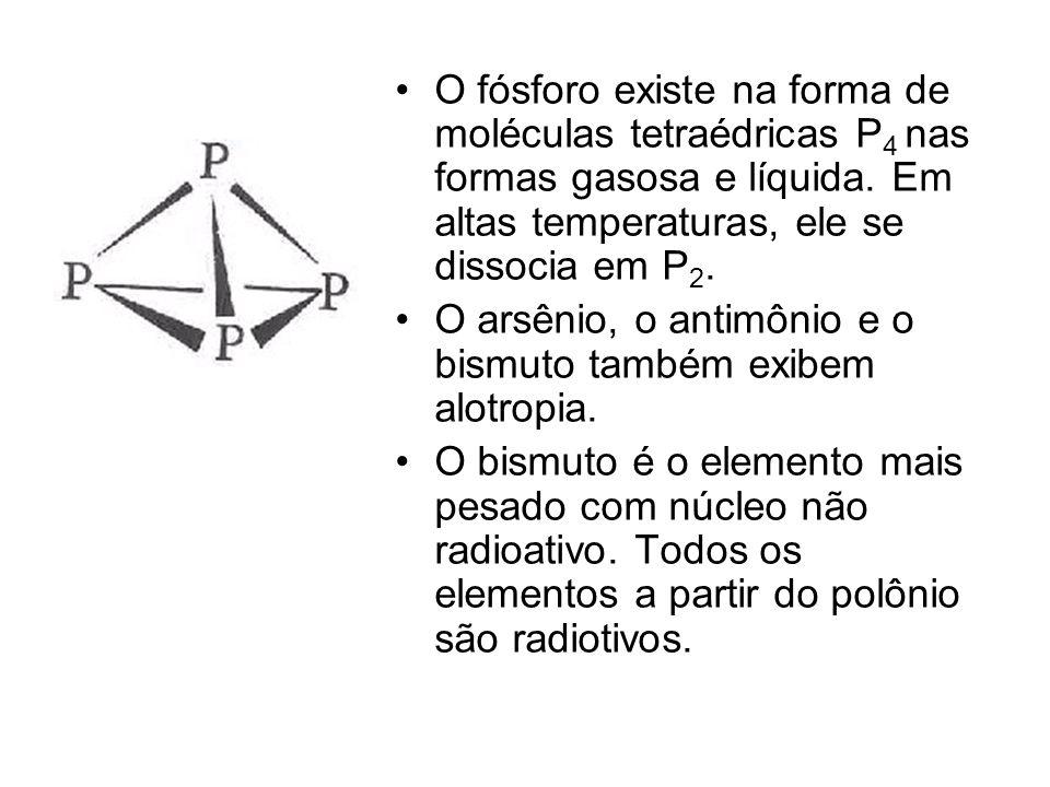 O fósforo existe na forma de moléculas tetraédricas P4 nas formas gasosa e líquida. Em altas temperaturas, ele se dissocia em P2.