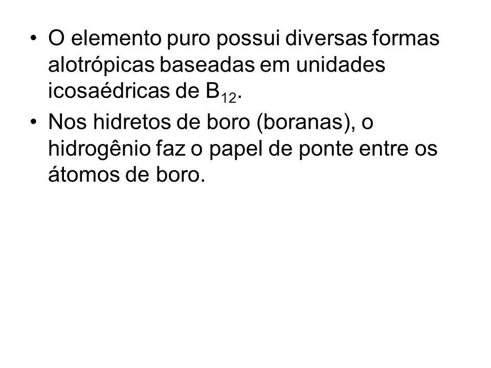 O elemento puro possui diversas formas alotrópicas baseadas em unidades icosaédricas de B12.