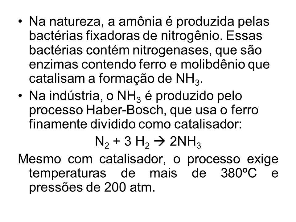 Na natureza, a amônia é produzida pelas bactérias fixadoras de nitrogênio. Essas bactérias contém nitrogenases, que são enzimas contendo ferro e molibdênio que catalisam a formação de NH3.