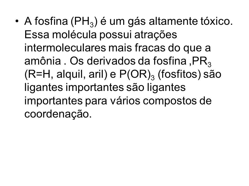 A fosfina (PH3) é um gás altamente tóxico