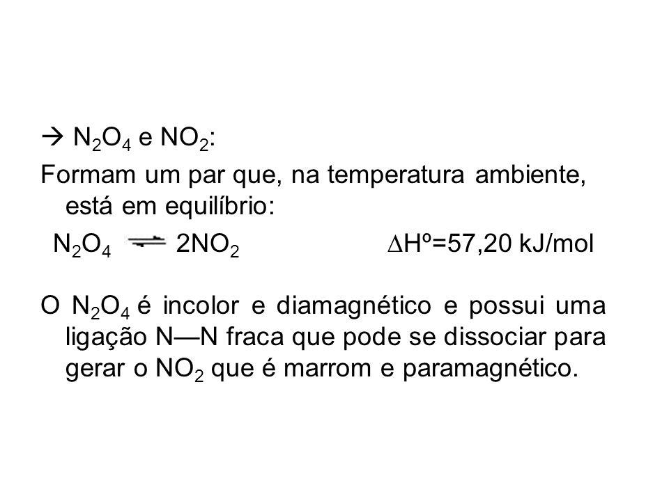  N2O4 e NO2: Formam um par que, na temperatura ambiente, está em equilíbrio: N2O4 2NO2 DHº=57,20 kJ/mol.