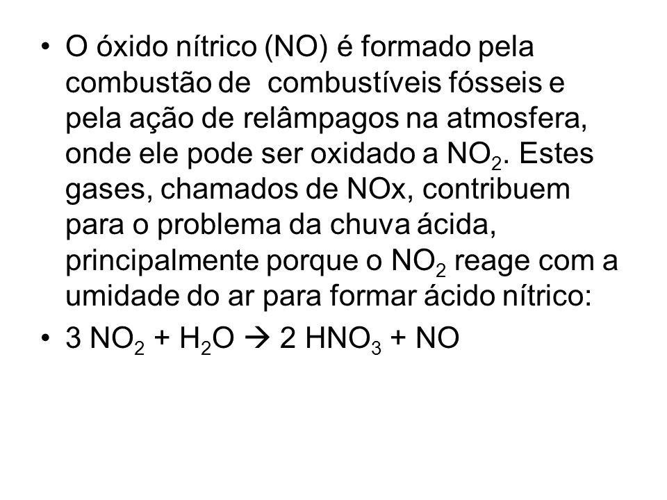 O óxido nítrico (NO) é formado pela combustão de combustíveis fósseis e pela ação de relâmpagos na atmosfera, onde ele pode ser oxidado a NO2. Estes gases, chamados de NOx, contribuem para o problema da chuva ácida, principalmente porque o NO2 reage com a umidade do ar para formar ácido nítrico: