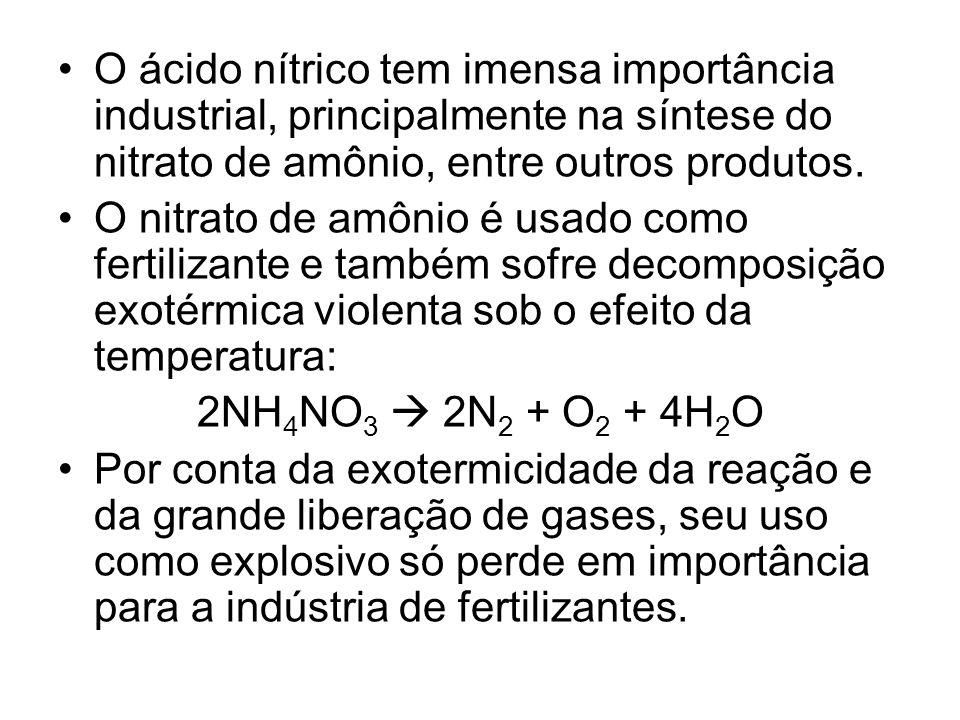 O ácido nítrico tem imensa importância industrial, principalmente na síntese do nitrato de amônio, entre outros produtos.