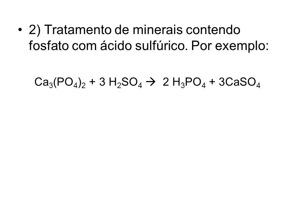 2) Tratamento de minerais contendo fosfato com ácido sulfúrico