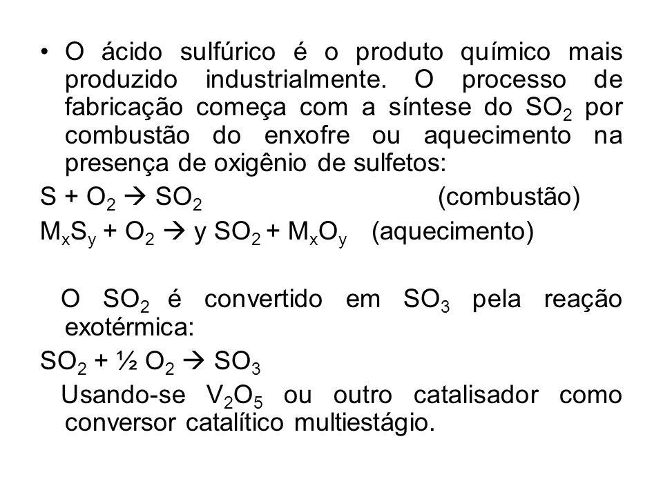 O ácido sulfúrico é o produto químico mais produzido industrialmente