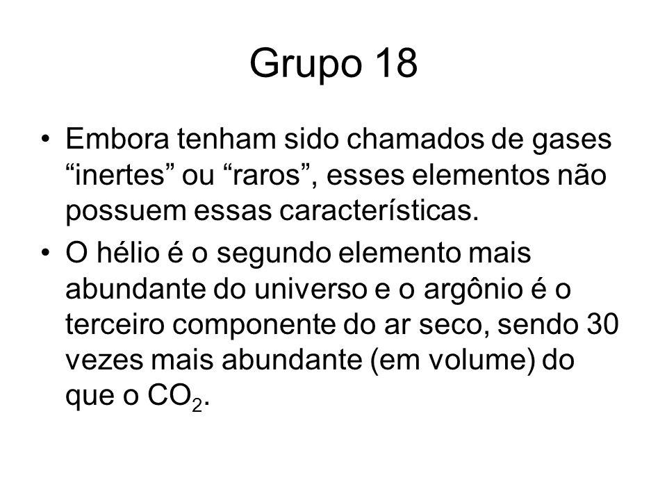 Grupo 18 Embora tenham sido chamados de gases inertes ou raros , esses elementos não possuem essas características.