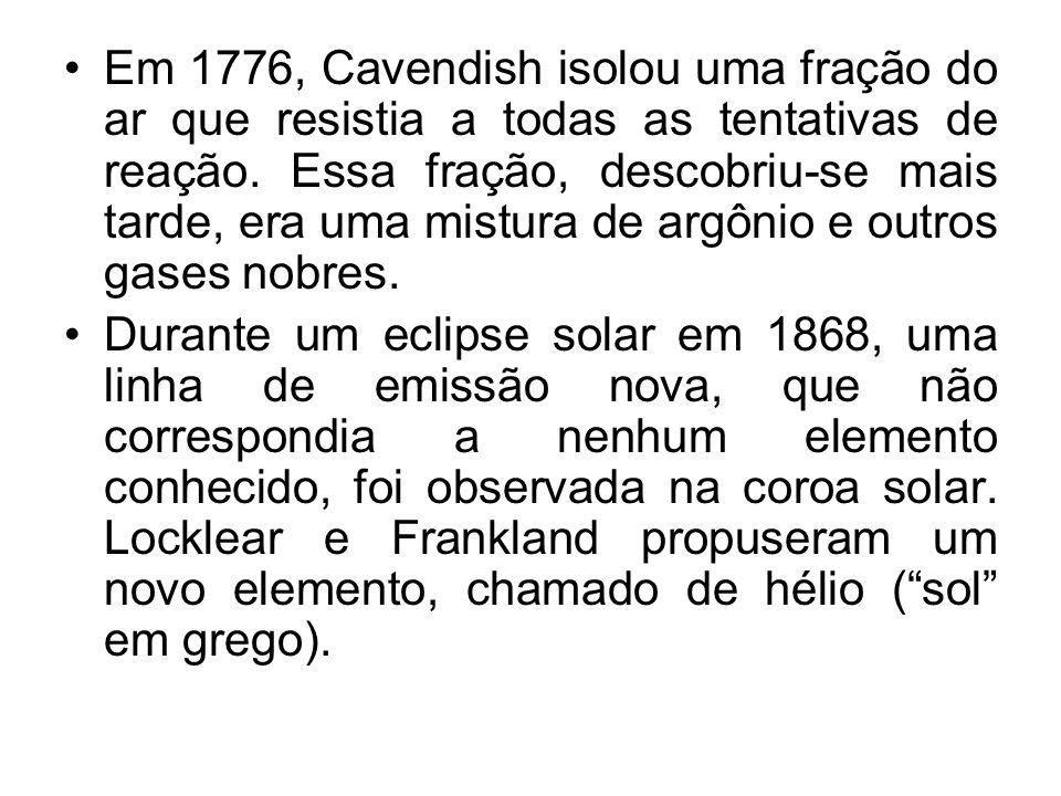 Em 1776, Cavendish isolou uma fração do ar que resistia a todas as tentativas de reação. Essa fração, descobriu-se mais tarde, era uma mistura de argônio e outros gases nobres.