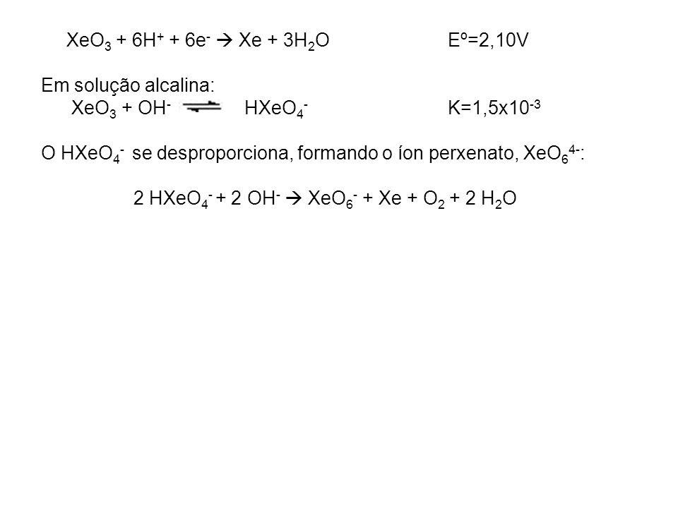 2 HXeO4- + 2 OH-  XeO6- + Xe + O2 + 2 H2O