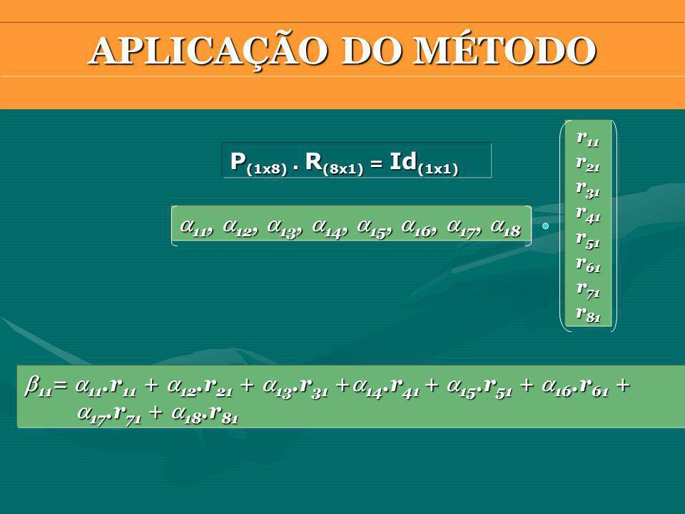 APLICAÇÃO DO MÉTODO P(1x8) . R(8x1) = Id(1x1)