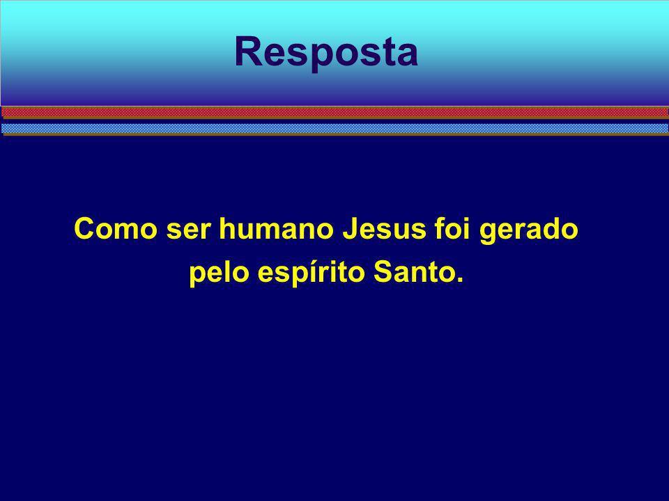 Como ser humano Jesus foi gerado pelo espírito Santo.