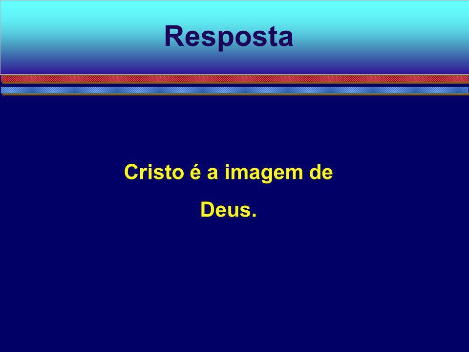 Resposta Cristo é a imagem de Deus.
