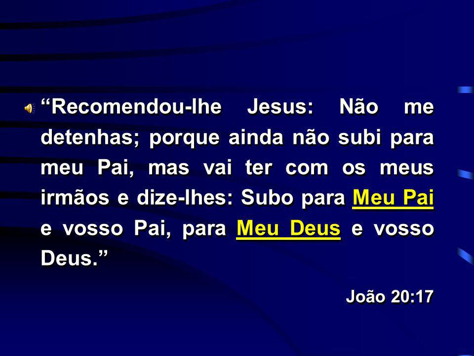 Recomendou-lhe Jesus: Não me detenhas; porque ainda não subi para meu Pai, mas vai ter com os meus irmãos e dize-lhes: Subo para Meu Pai e vosso Pai, para Meu Deus e vosso Deus.