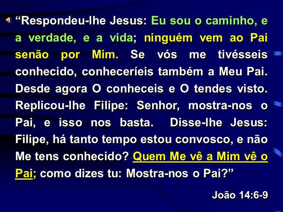 Respondeu-lhe Jesus: Eu sou o caminho, e a verdade, e a vida; ninguém vem ao Pai senão por Mim. Se vós me tivésseis conhecido, conheceríeis também a Meu Pai. Desde agora O conheceis e O tendes visto. Replicou-lhe Filipe: Senhor, mostra-nos o Pai, e isso nos basta. Disse-lhe Jesus: Filipe, há tanto tempo estou convosco, e não Me tens conhecido Quem Me vê a Mim vê o Pai; como dizes tu: Mostra-nos o Pai