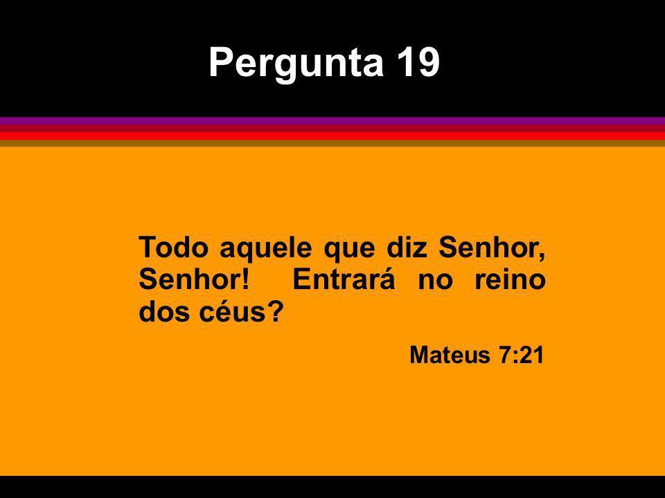 Pergunta 19 Todo aquele que diz Senhor, Senhor! Entrará no reino dos céus Mateus 7:21