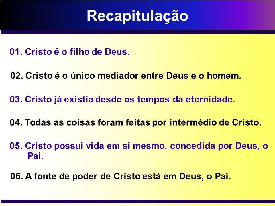 Recapitulação 01. Cristo é o filho de Deus.