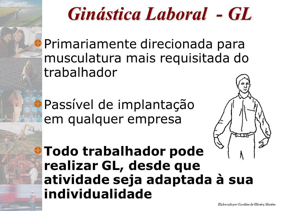 Ginástica Laboral - GL Primariamente direcionada para musculatura mais requisitada do trabalhador.