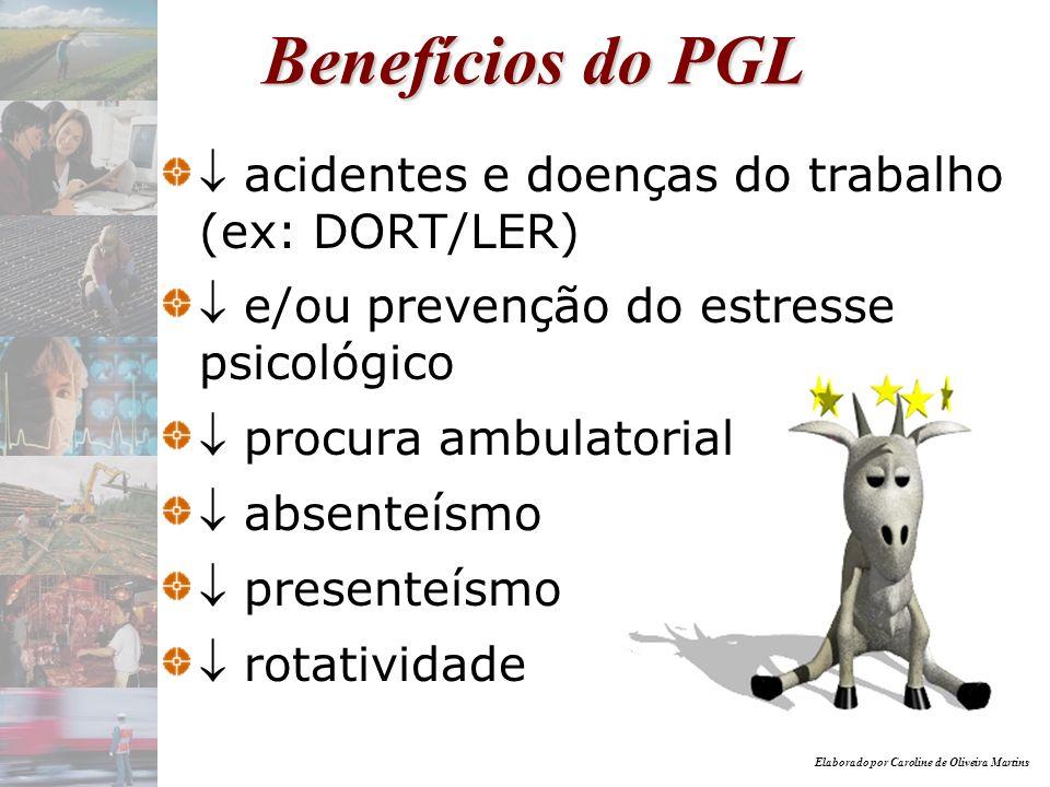 Benefícios do PGL  acidentes e doenças do trabalho (ex: DORT/LER)