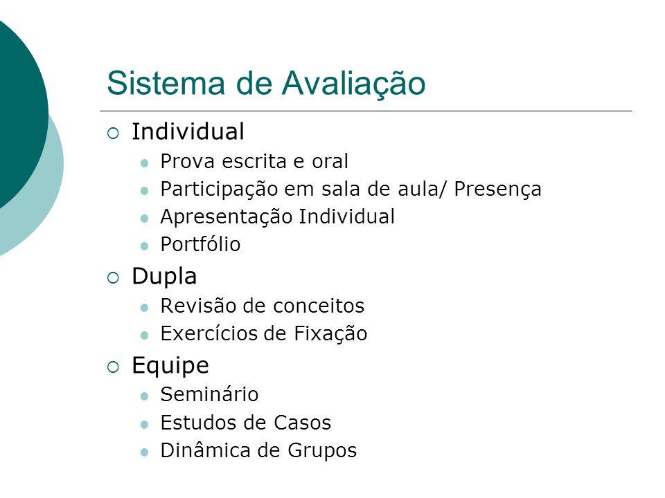 Sistema de Avaliação Individual Dupla Equipe Prova escrita e oral