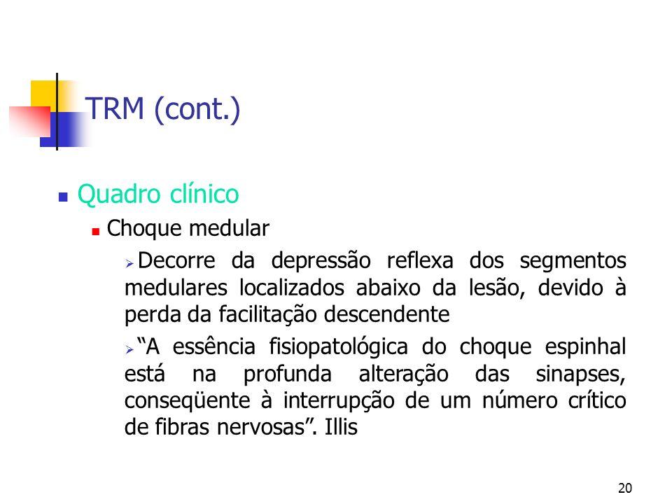 TRM (cont.) Quadro clínico Choque medular