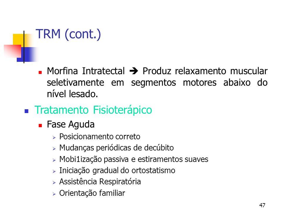 TRM (cont.) Tratamento Fisioterápico