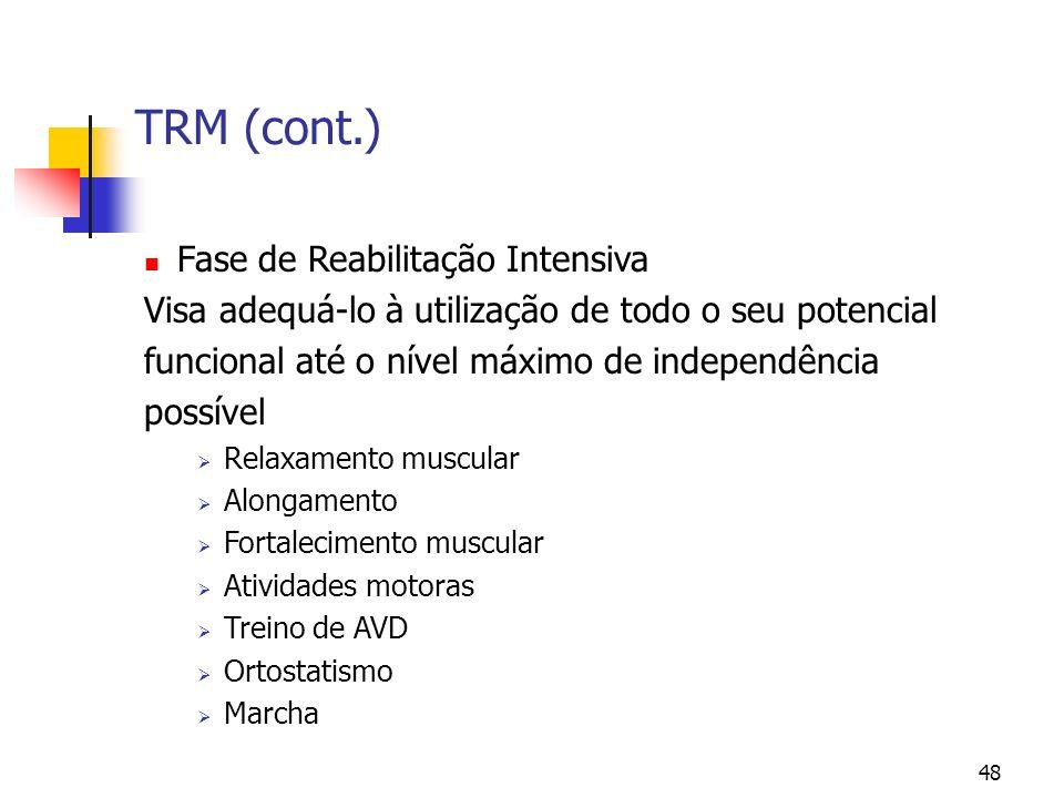 TRM (cont.) Fase de Reabilitação Intensiva