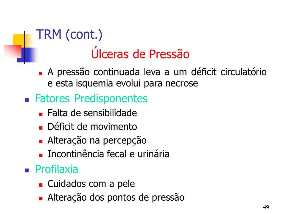 TRM (cont.) Úlceras de Pressão Fatores Predisponentes Profilaxia