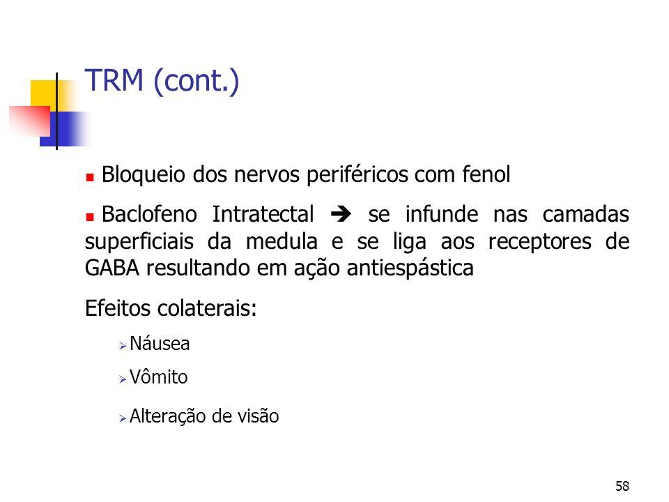 TRM (cont.) Bloqueio dos nervos periféricos com fenol