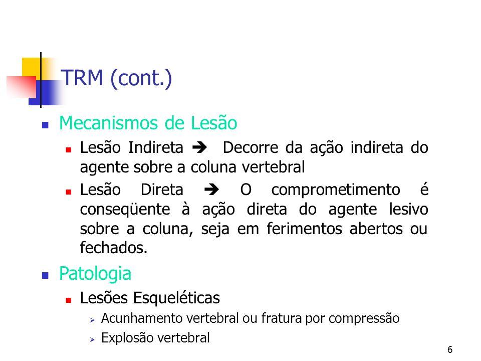 TRM (cont.) Mecanismos de Lesão Patologia