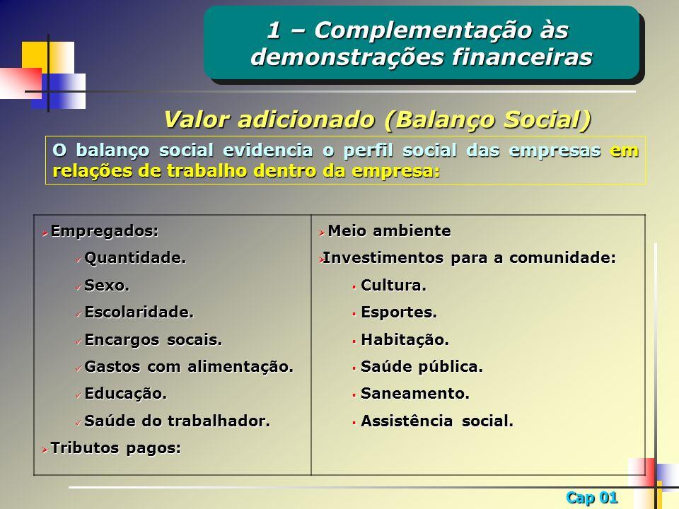 demonstrações financeiras Valor adicionado (Balanço Social)