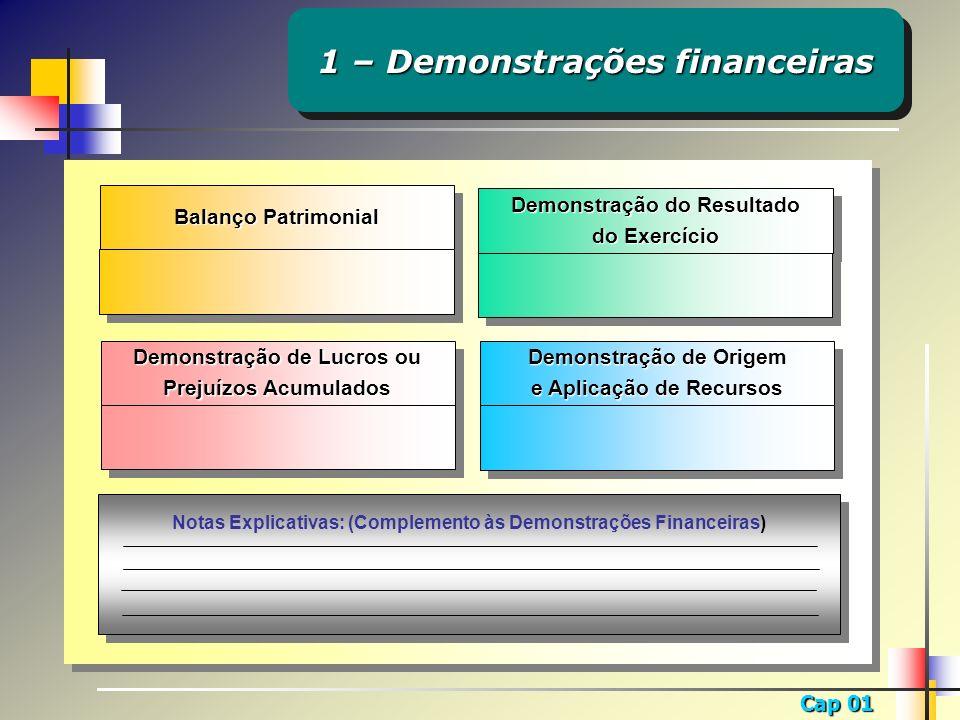 1 – Demonstrações financeiras