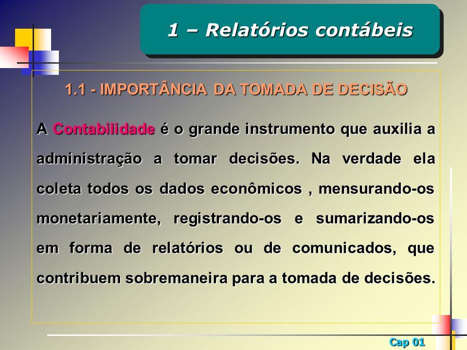 1 – Relatórios contábeis 1.1 - IMPORTÂNCIA DA TOMADA DE DECISÃO