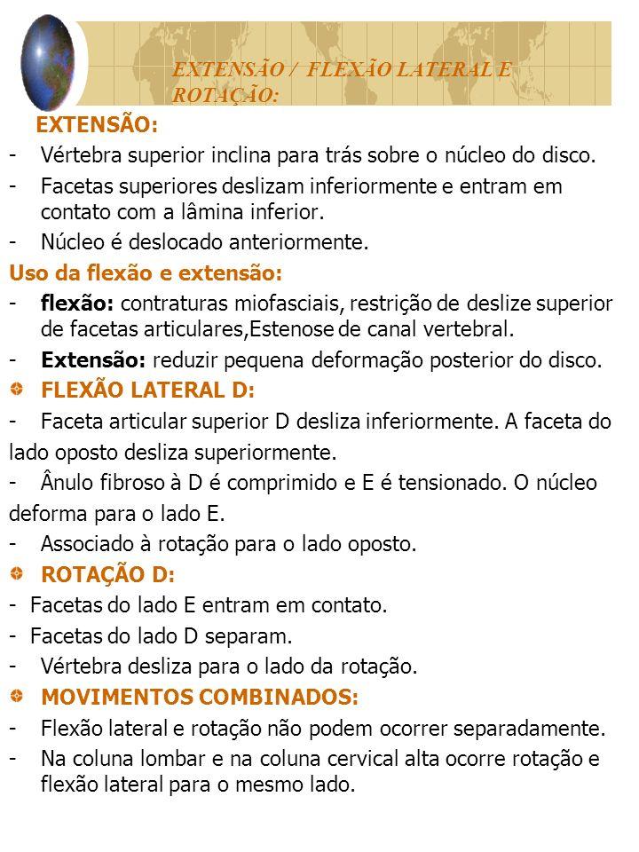 EXTENSÃO / FLEXÃO LATERAL E ROTAÇÃO: