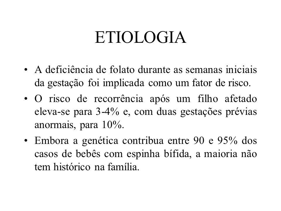 ETIOLOGIA A deficiência de folato durante as semanas iniciais da gestação foi implicada como um fator de risco.