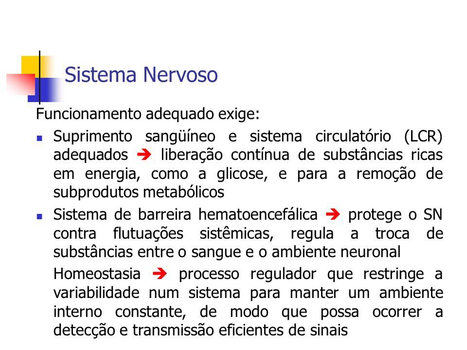 Sistema Nervoso Funcionamento adequado exige: