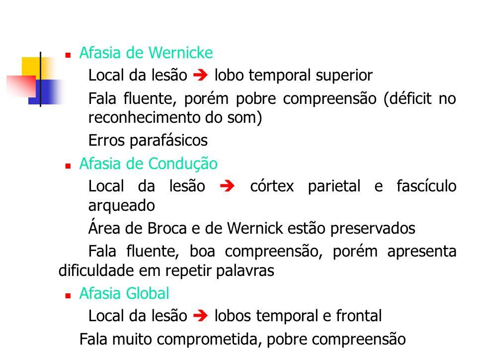 Afasia de Wernicke Local da lesão  lobo temporal superior. Fala fluente, porém pobre compreensão (déficit no reconhecimento do som)