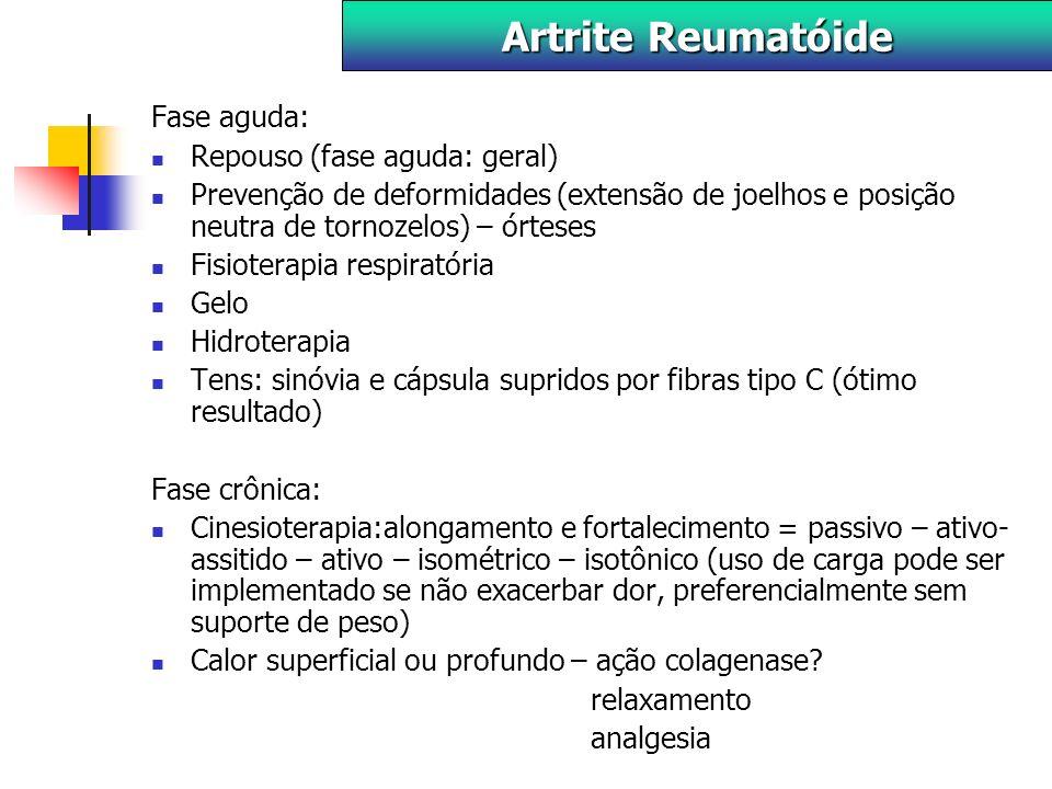 Artrite Reumatóide Fase aguda: Repouso (fase aguda: geral)