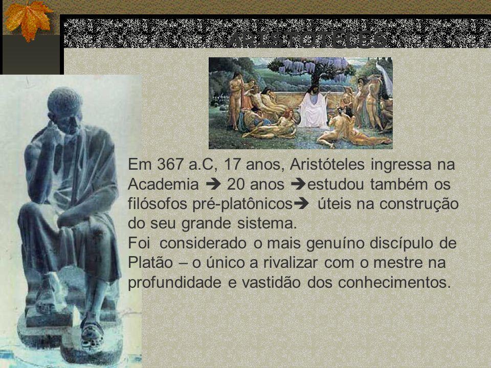 ARISTÓTELES Em 367 a.C, 17 anos, Aristóteles ingressa na