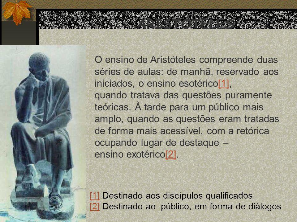 ARISTÓTELES O ensino de Aristóteles compreende duas
