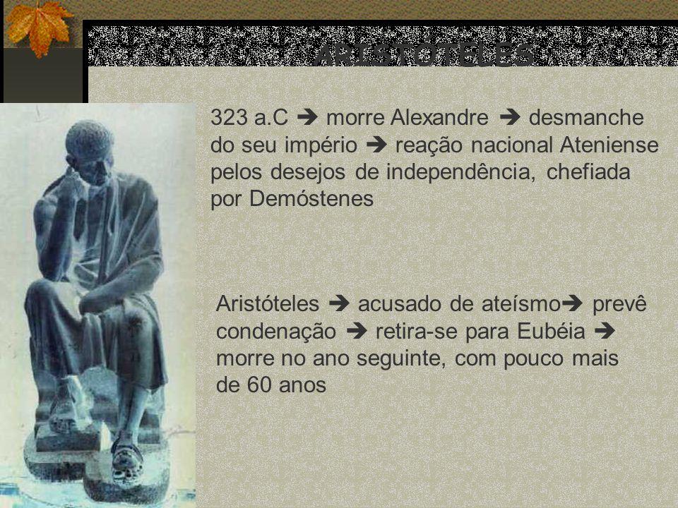 ARISTÓTELES 323 a.C  morre Alexandre  desmanche